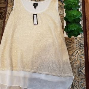 Sleeveless gold and white blouse